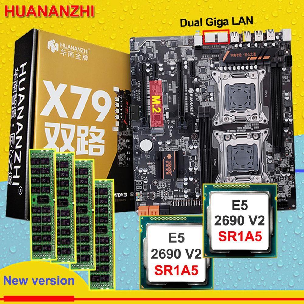 Rabatt HUANAN ZHI dual X79 motherboard mit M.2 slot rabatt motherboard mit CPU Intel Xeon E5 2690V2 3,0 GHz RAM 64G (4*16G)