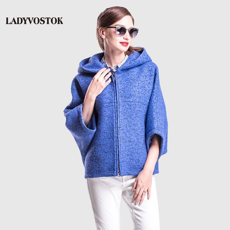 LADYVOSTOK autumn winter Casual Short bat sleeve hooded zipper Coat Overcoat ladies knitwear Free Women Jacket GY842-3