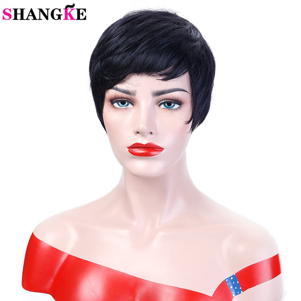 SHANGKE Cheveux Court Noir Perruques Femmes Naturel Droite Synthétique Perruques Pour Les Femmes Résistant À La Chaleur Femelle Cheveux Pièces