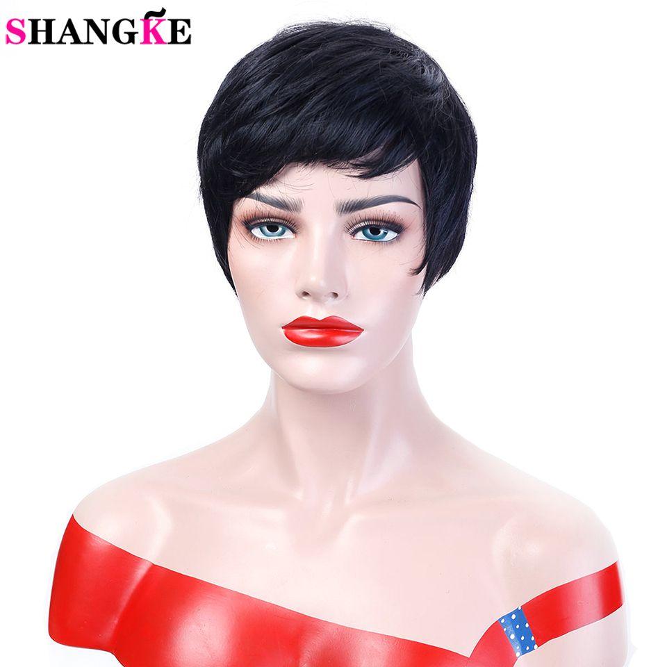 Shangke волосы короткие черные Искусственные парики Для женщин естественная прямая Искусственные парики для Для женщин жаропрочных женский Н...