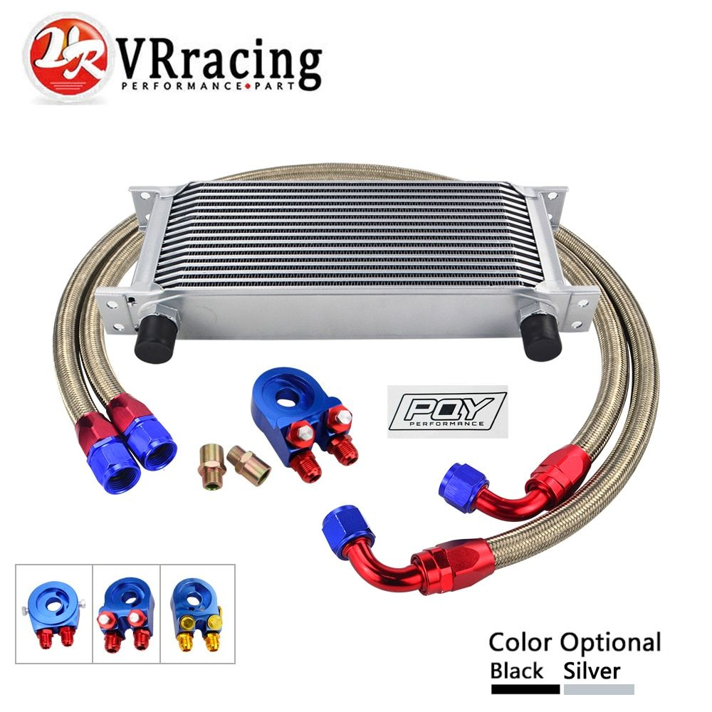 AN10 OIL COOLER KIT 16ROWS TRANSMISSION OIL COOLER +OIL FILTER ADAPTER + NYLON STAINLESS STEEL BRAIDED HOSE WITH PQY STICKER+BOX