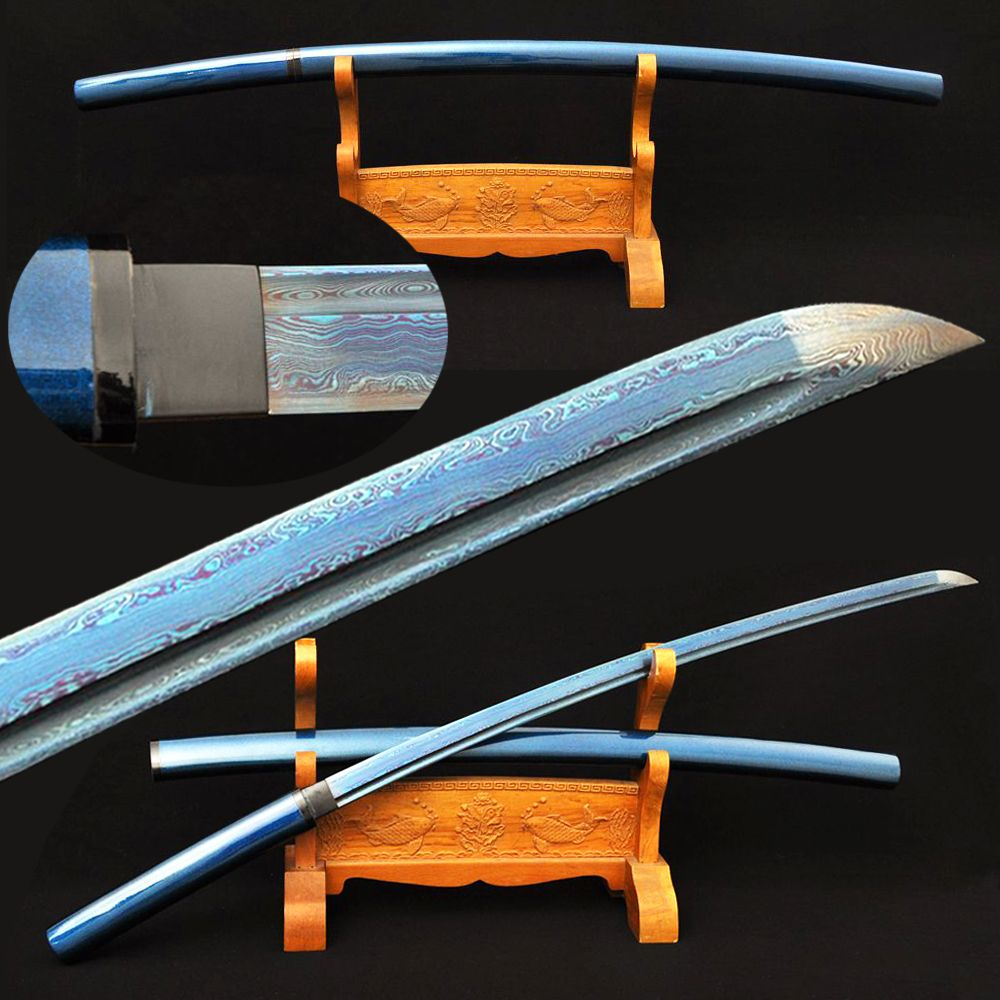 Blue Blade Samurai Sword Katana Japanese Damascus Folded Steel With Special Treated Hard Wood Bull Horn Sheath Battle Ready 41
