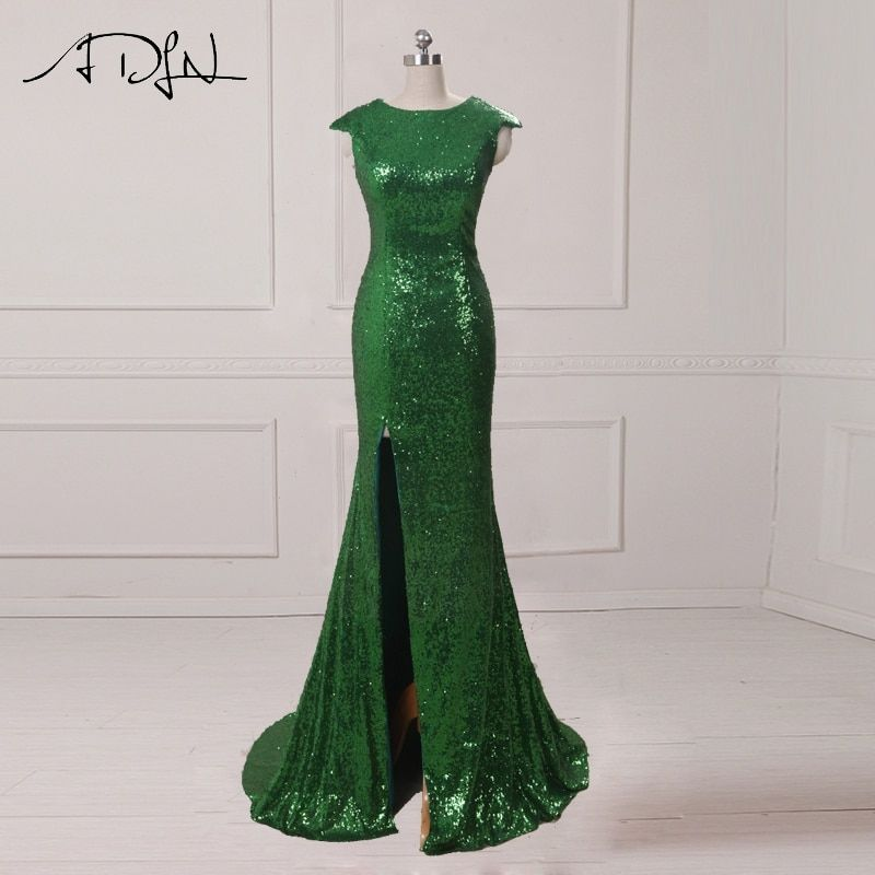 ADLN Mermaid Evening Dresses With Slit Scoop Sequin Long Prom Dresses 2017 Sexy Party Gowns <font><b>Rose</b></font> Gold/Green/Burgundy/Black/Red