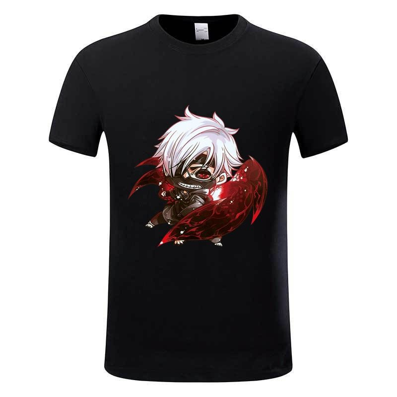 New Arrival Men's Anime Tokyo Ghoul Printed Tee Shirt Homme Summer Black O Neck Breathable Soft Cotton T-shirts Tops Tee,GMT001