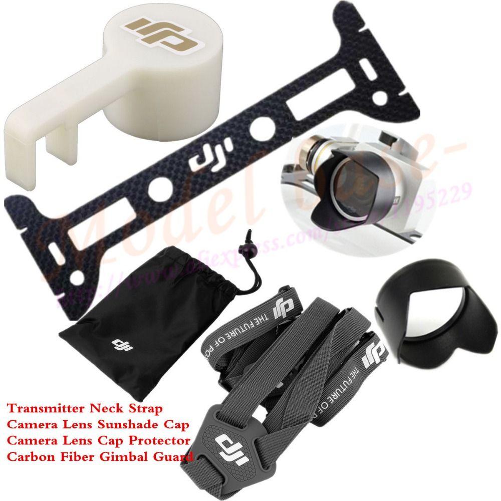 Transmisor correa de hombro cinturón Sling + carbono Fibra Gimbal Guard + Objetivos para cámaras Cap protector + sombrilla para DJI Phantom 3