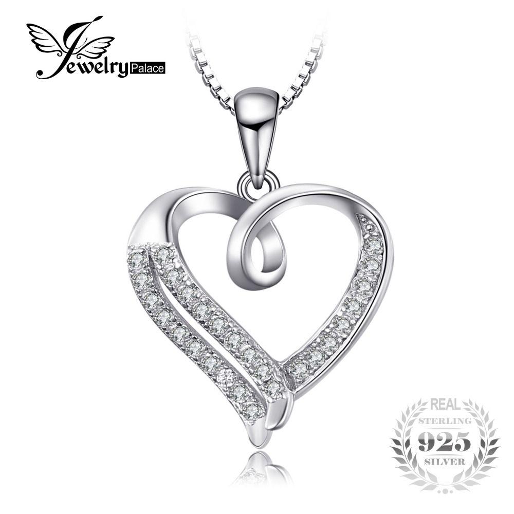 JewelryPalace Amor Ronda Corazón Cubic Zirconia Colgante de Plata de Ley 925 No Incluye una Cadena De Joyería Día de San Valentín Presente