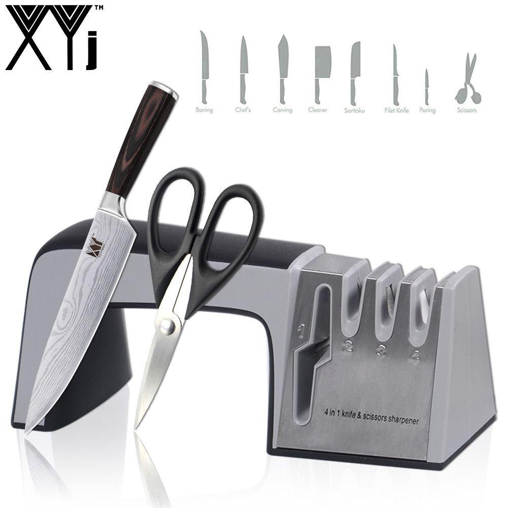Affûteuse de couteau XYj 4 en 1 diamant enduit et Fine tige en céramique couteau cisailles et ciseaux système d'affûtage lames en acier inoxydable