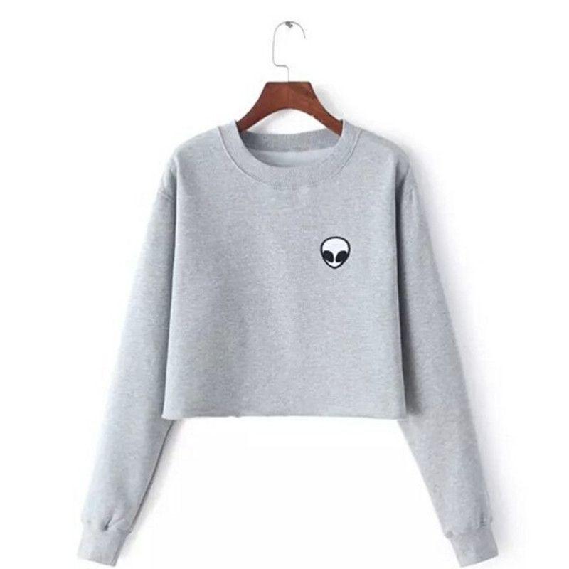 ET Étrangers Impression Hoodies Sweat-Shirts harajuku Ras Du cou Sweats Femmes Vêtements Feminina Lâche Court Polaire Jumper Sweats Chaud