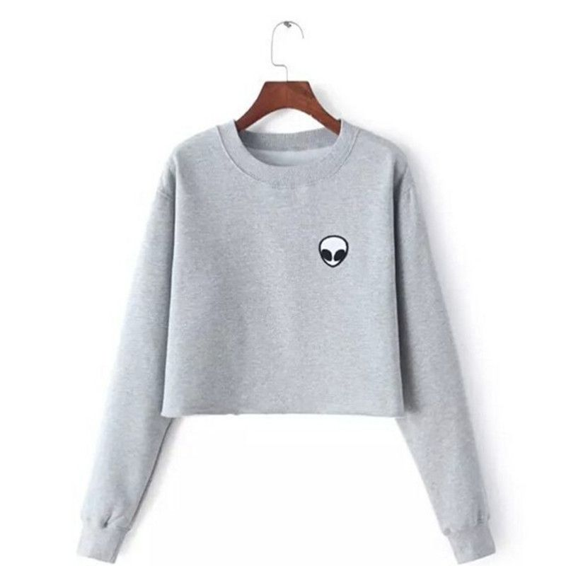 Sweat à capuche imprimé ET Aliens Sweats harajuku col rond Sweats femmes vêtements Feminina ample court polaire pull Sweats chaud