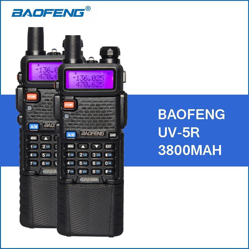 2pcs/lot Baofeng UV-5R Walkie Talkie VHF UHF Dual Band 3800mAh Long Standby 5W Portable Walkie Talkies Two Way Radio Transceiver