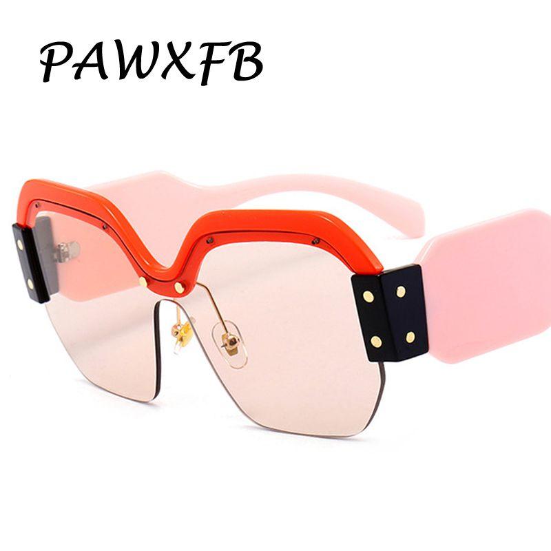 Pop Age 2018 Luxury Italy Brand Designer Oversized Square Sunglasses Women Retro Rimless Pink Sun Glasses Female Gafas de Sol