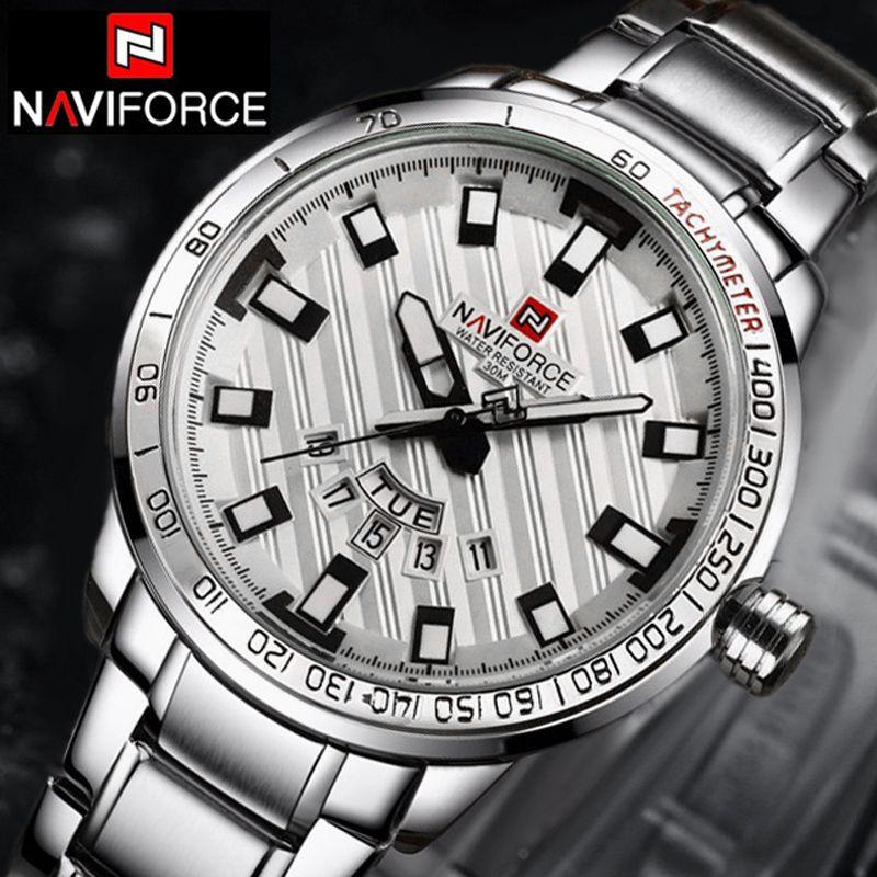 NAVIFORCE Montres Hommes Marque De Luxe décontracté Montre Quartz Horloge Hommes Sport Montres hommes En Acier Montre-Bracelet Militaire Navi Force 2018