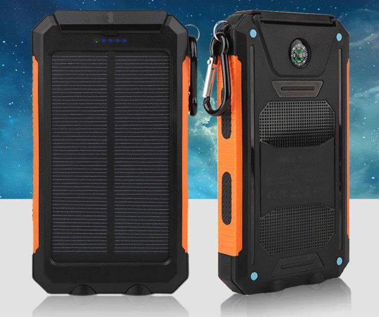 Batterie portable solaire réel 20000 mAh double USB externe étanche polymère chargeur de batterie lampe de lumière extérieure Powerbank Ferisi