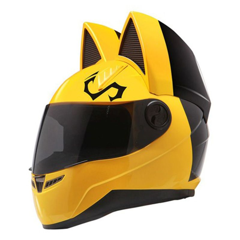 Motorcycle helmet with cat ears automobile race antifog full face helmet personality design with horn capacete moto casco
