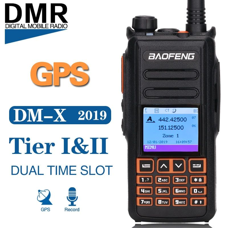 Baofeng DM-X GPS Record Dual Band Dual Time Slot Tier 1&2 Tier II DMR Digital/Analog Upgrade of DM-1702 Digital Walkie Talkie