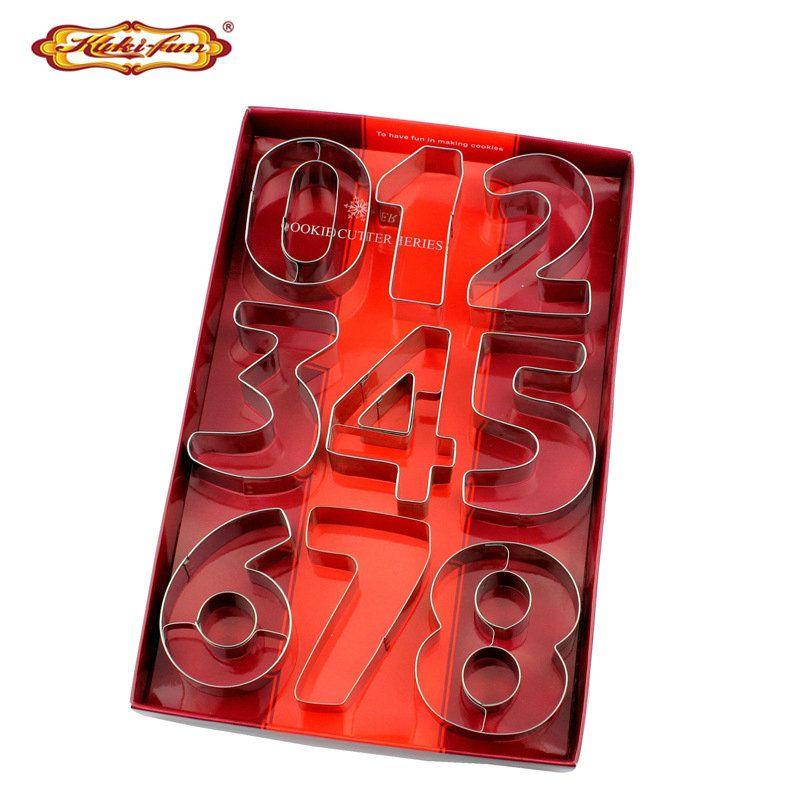 Kuki-fun 9 pièces/ensemble grande taille nombre emporte-pièce en acier inoxydable coupe-Biscuit Fondant Cookie moule gâteau décoration outils