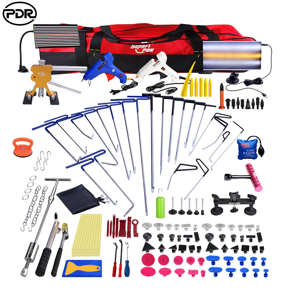 PDR Hooks Push Rod Dent Removal Paintless Dent Repair Tools LED Lamp Reflector Board Dent Puller Hand Tool Set