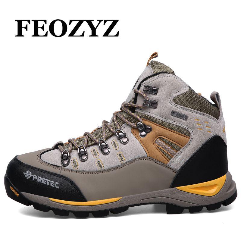 FEOZYZ Waterproof Hiking Shoes Men Cow Leather Trekking Hiking Boots Mountain Climbing Shoes Men Zapatillas Outdoor Hombre
