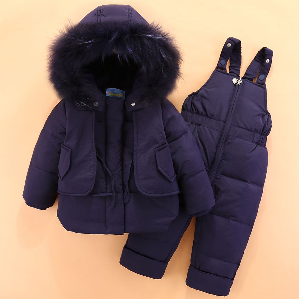 2018 New Baby Boy Winter Down Jacket for Boy Clothes Romper Suits Fashion Warm Coat Raccoon Fur Kids 1-3Y Outfit Clothing Sets