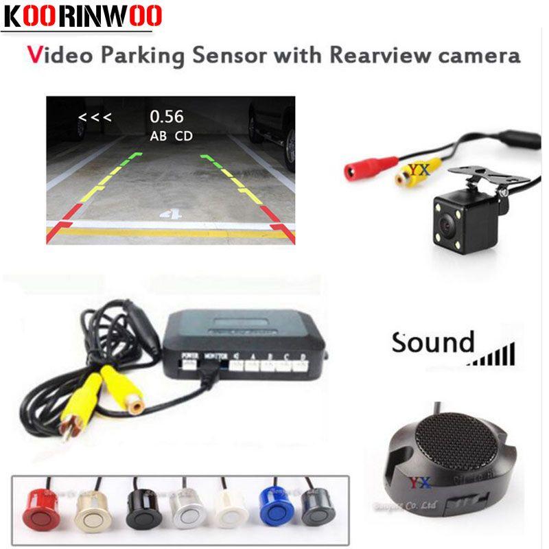 Koorinwoo capteurs de stationnement de voiture visibles connecter système vidéo CCD caméra de recul de voiture lumière LED système Parktronic alarme Jalousie