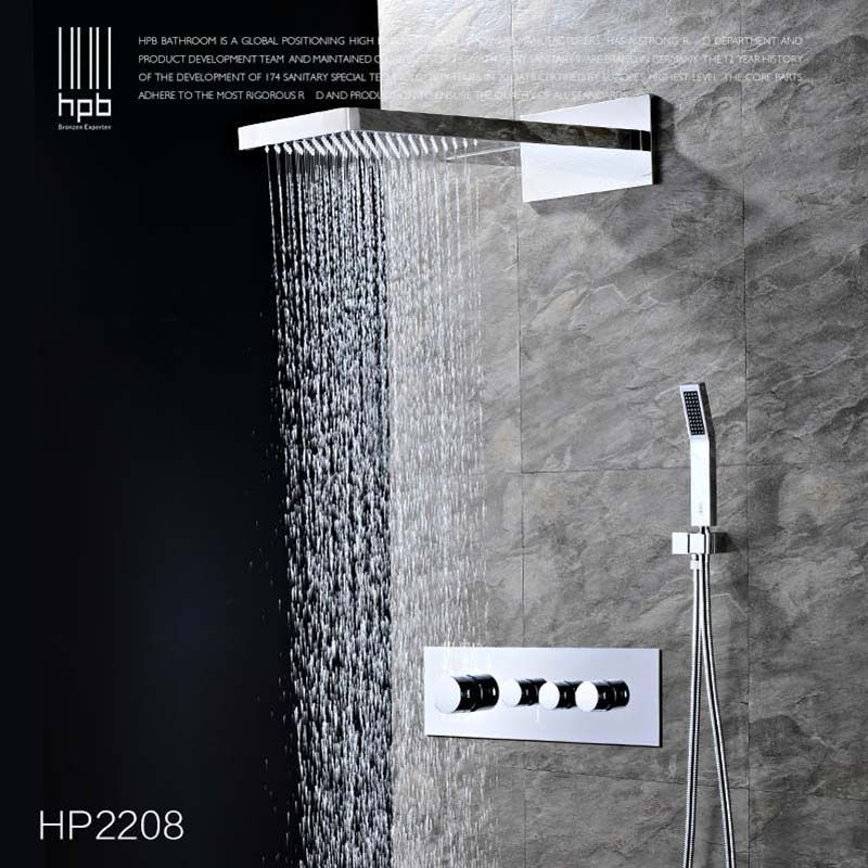 HPB Brass Thermostatic Bathroom Water Mixer Wall Mounted Bath Shower Panel Set Faucet torneira banheiro HP2209