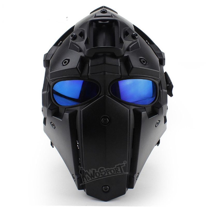 WoSporT Full Face Helmet with 5 Lenses Goggles+Fan Adjustable Motorcycle Tactical Airsoft Paintball Military Breathable Helmet