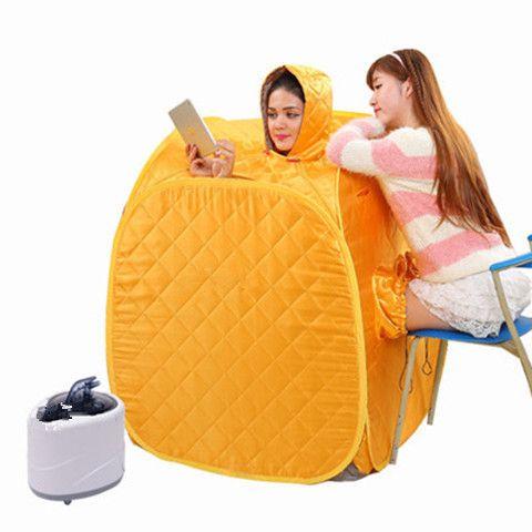 High quality Portable Folding family with three Steam Sauna Box Khan Steam Room+2.0L Sauna Steamer Steam Generator Pot