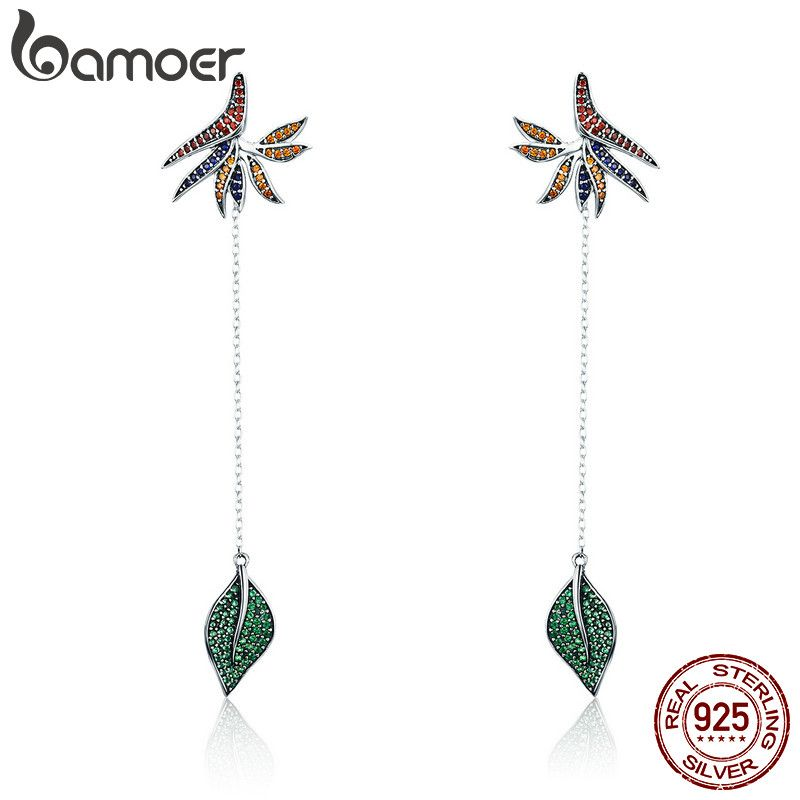 BAMOER  925 Sterling Silver Strelitzia Flower Petal & Leaves Long Chain Drop Earrings for Women Party Earrings Jewelry SCE299