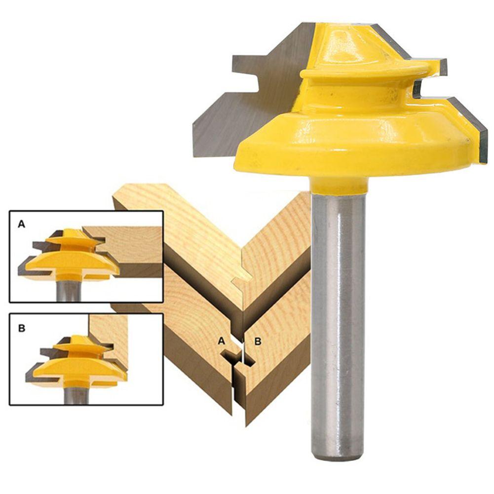 Woodworker Lock Miter Router Bit 45 Degree Width 1-3/8