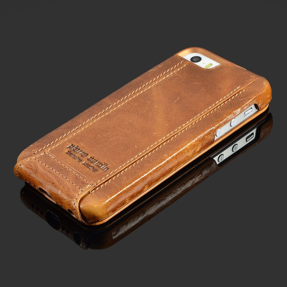 Pierre Cardin Brown Genuine Leather Case For Apple iPhone SE/5/5S 6/6s 4.7