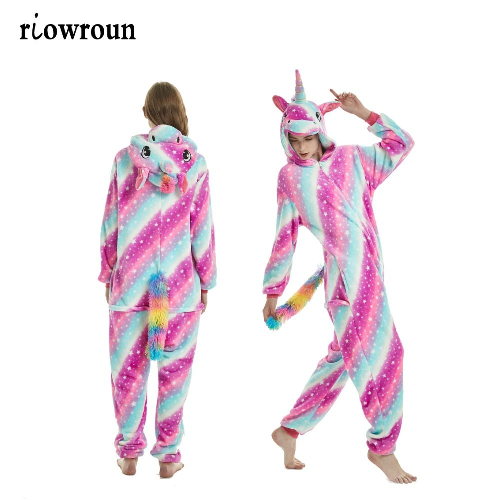 Adult Kigurumi Onesie Anime Women Costumes Cosplay Cartoon Animal Sleepwear Stitch <font><b>Star</b></font> Unicorn Pikachu Winter Warm Hooded 2019