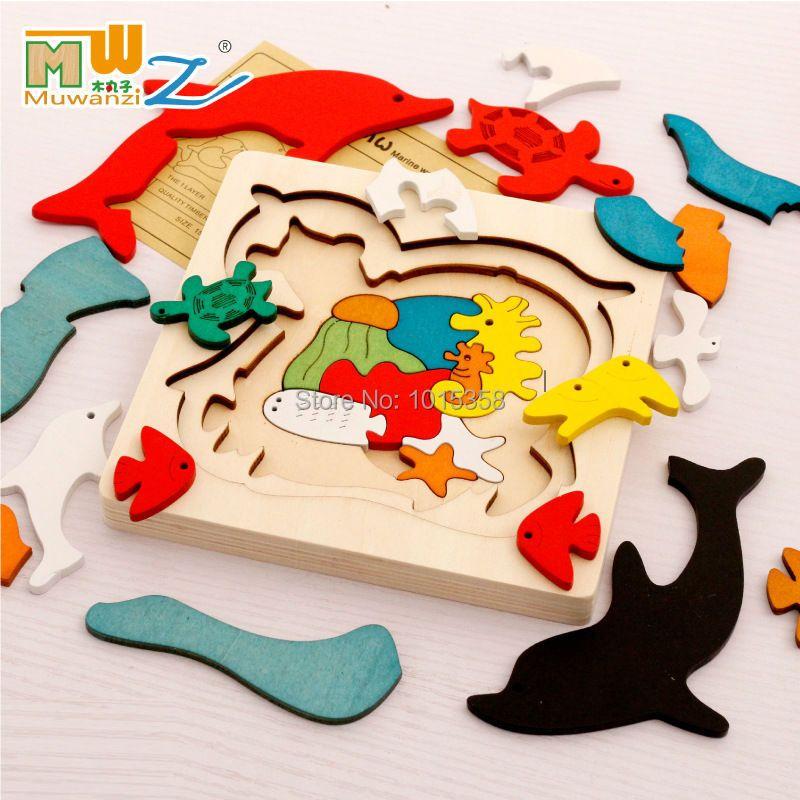 Livraison gratuite enfants/enfants éducatifs jouets en bois multicouche de bande dessinée 3D animaux puzzle bébé cadeau d'une seule pièce