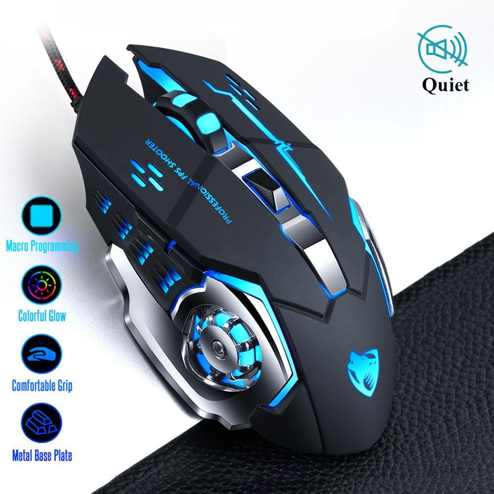 Souris de jeu Pro Gamer 8D 3200 DPI LED optique filaire réglable souris d'ordinateur câble USB souris d'ordinateur portable silencieuse
