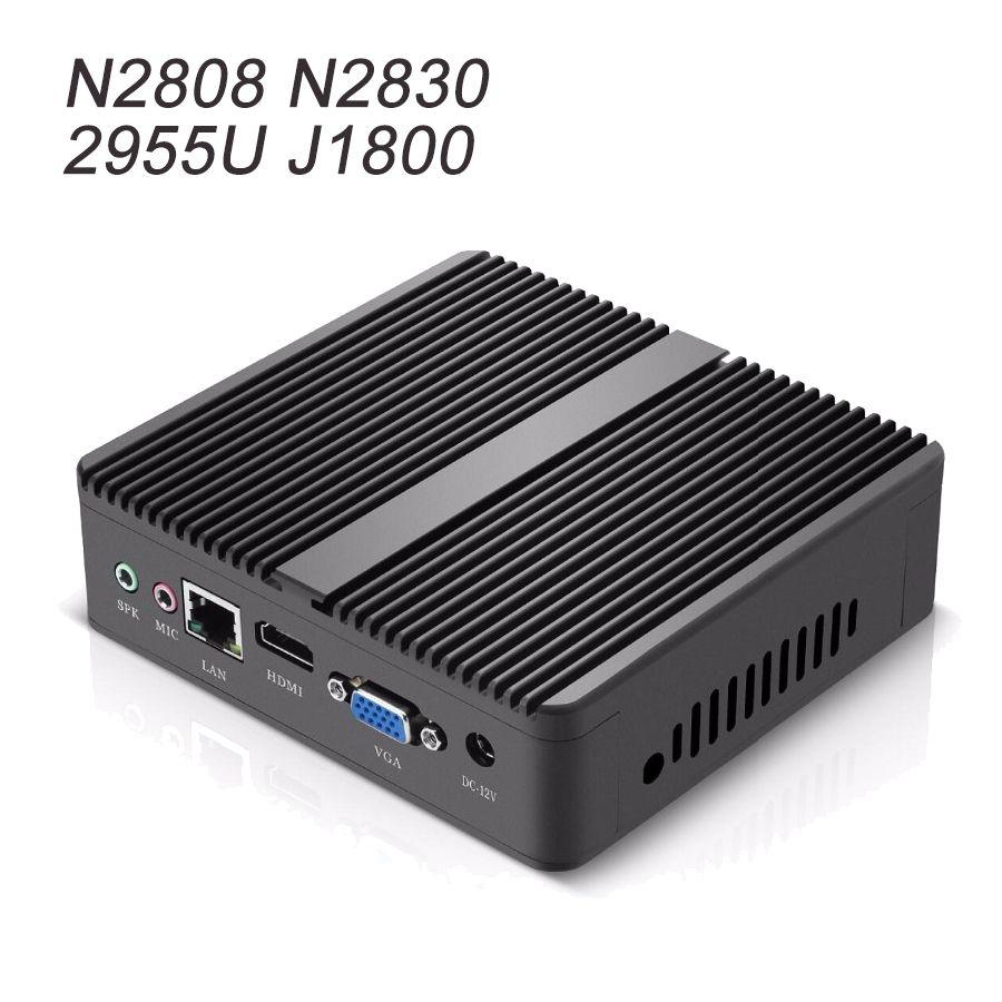 Intel Celeron N2808 N2830 Mini PC Windows 10 Linux Sans Ventilateur Intel Mini-Ordinateur HTPC Media Player WIFI HDMI Bureau De Bureau PC