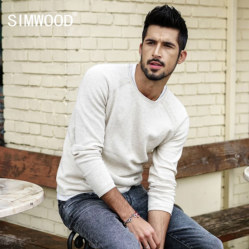 SIMWOOD 2018 autumn New Sweater Men Slim Fit  100% Pure Cotton Pullover Male Knitted Sweater Male Fashion MT017013