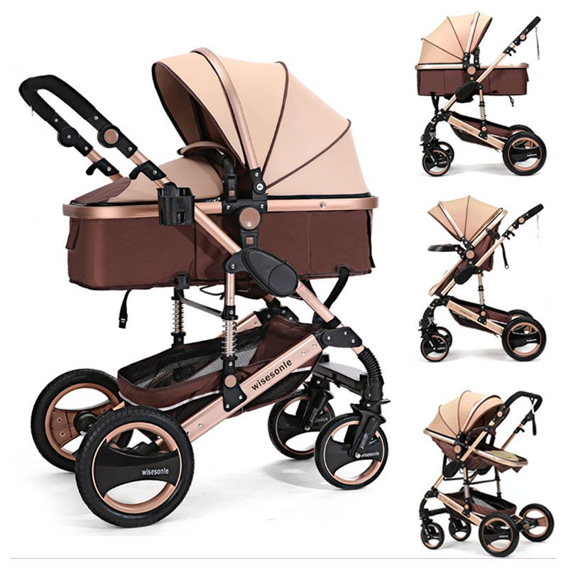 Aluminum Alloy High Landscape Four Wheels Baby Stroller Car Seat Newborn Baby Carriage Reversable Push Handle Can Lie Flat 0~3 Y