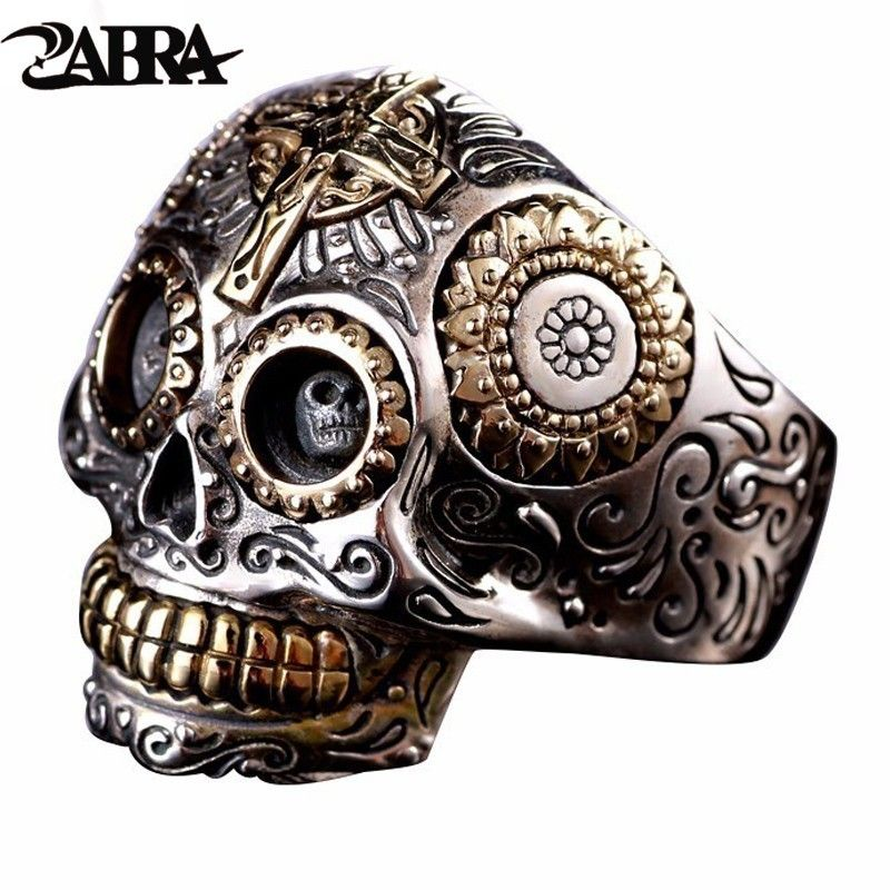 ZABRA Luxury Solid 925 Sterling Silver Skull Ring Men Vintage Punk Rock Cross Gold Big Heavy Mens Gothic Rings Bague Homme Biker