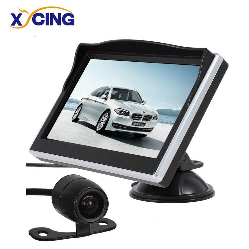 Moniteur de vue arrière de stationnement de moniteur de voiture d'écran de 5 pouces TFT LCD HD + caméra de recul de vue arrière de voiture de couleur de 18mm