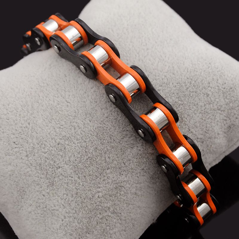 Dolaime Fashion Women Double color Stainless Steel Bracelet Bicycle chain Punk Rock Motorcycle chain bracelet Hot selling GB1490