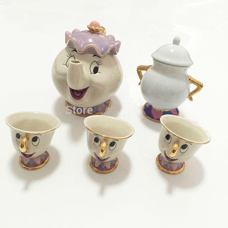 Hot Sale New Cartoon Beauty And The Beast Teapot Mug Mrs Potts Chip Tea Pot Cup 2PCS One Set Lovely Nice Gift Free Shipping