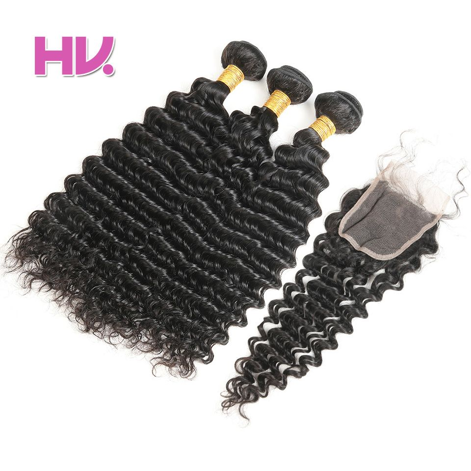 Hair Villa One Pack Remy Great Value Brazilian Deep Wave Human Hair Bundles with 4*4 Lace Closure Full Hand Made for Salon