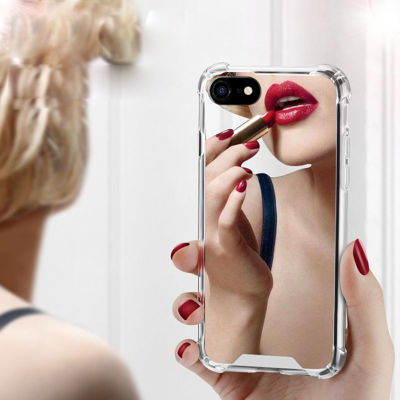 Luxury Mirror Phone Cases for iPhone 7 7 Plus TPU PC Back Protect Case for iPhone X 6 6S 8 Plus Cover Reflect Girly Cute Case