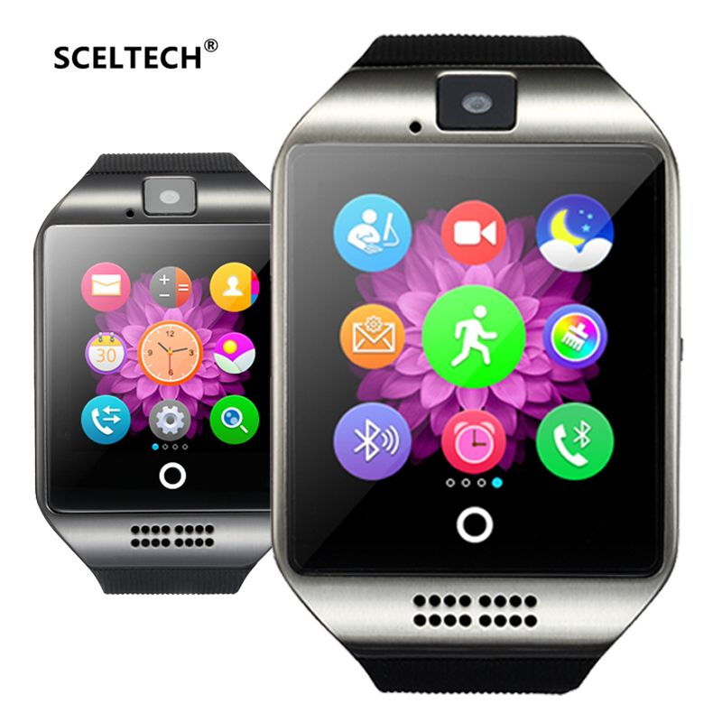 SCELTECH Bluetooth Montre Smart Watch Q18 Avec Caméra Facebook Whatsapp Twitter Sync SMS Smartwatch Soutien SIM TF Carte Pour IOS Android