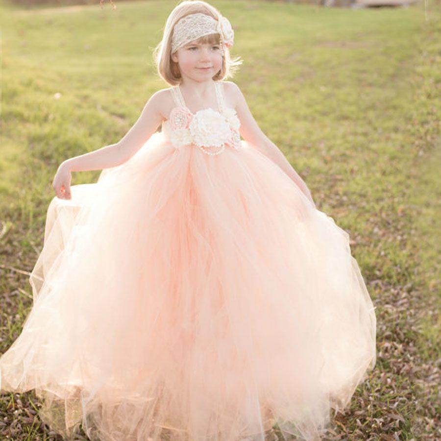 Peach and Ivory Flower Girl Dress Kids Lace Tutu Dress Christmas Wedding <font><b>Birthday</b></font> Party Pageants Photo Clothing TS082