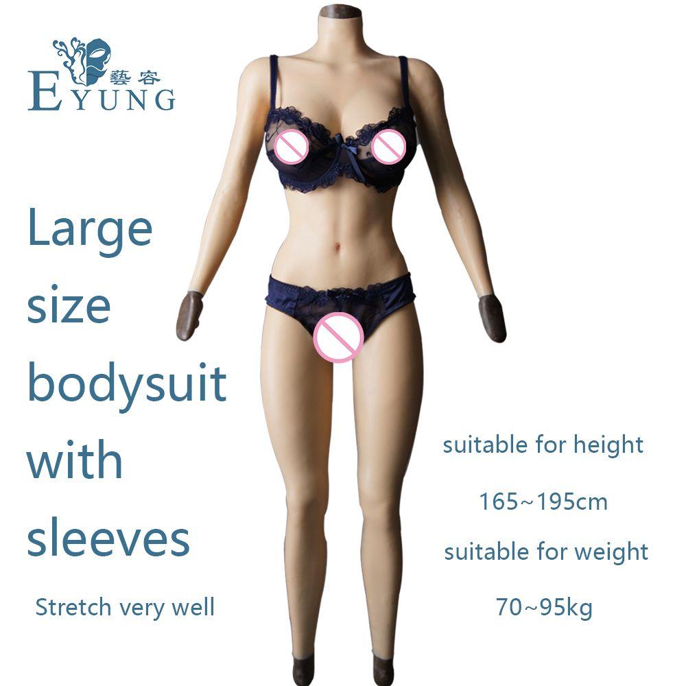 F tasse feste silikon titten vagina Body für Crossdresser mit ärmeln und brustform Gesäß pad brust platte gefälschte pussy
