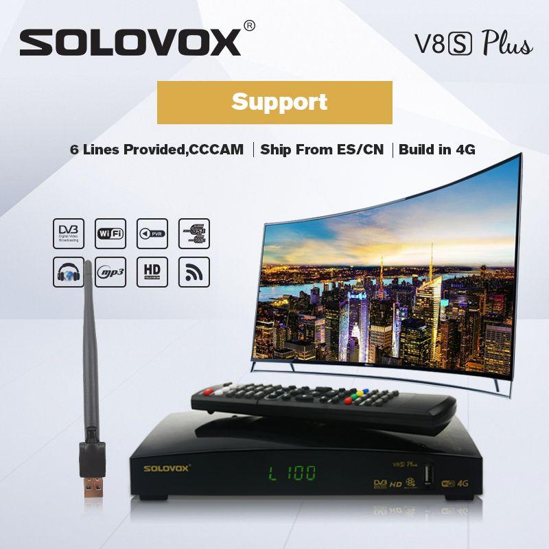 SOLOVOX V8S PLUS récepteur de télévision par Satellite 2USB prise en charge de la clé Biss WEB TV Home cinéma prise en charge CCCAM, YOUTUBE youporno DLAN