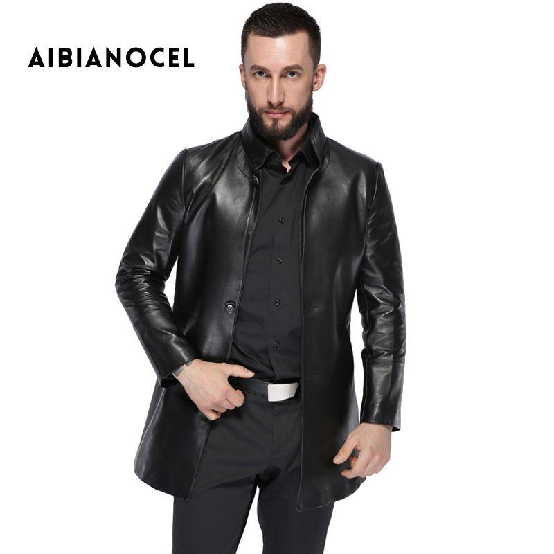 Aibianocel мужской натуральная кожа куртка из натуральной овечьей кожи пальто для мужчин черный осенне-зимняя куртка кожаная мужская из натурал...