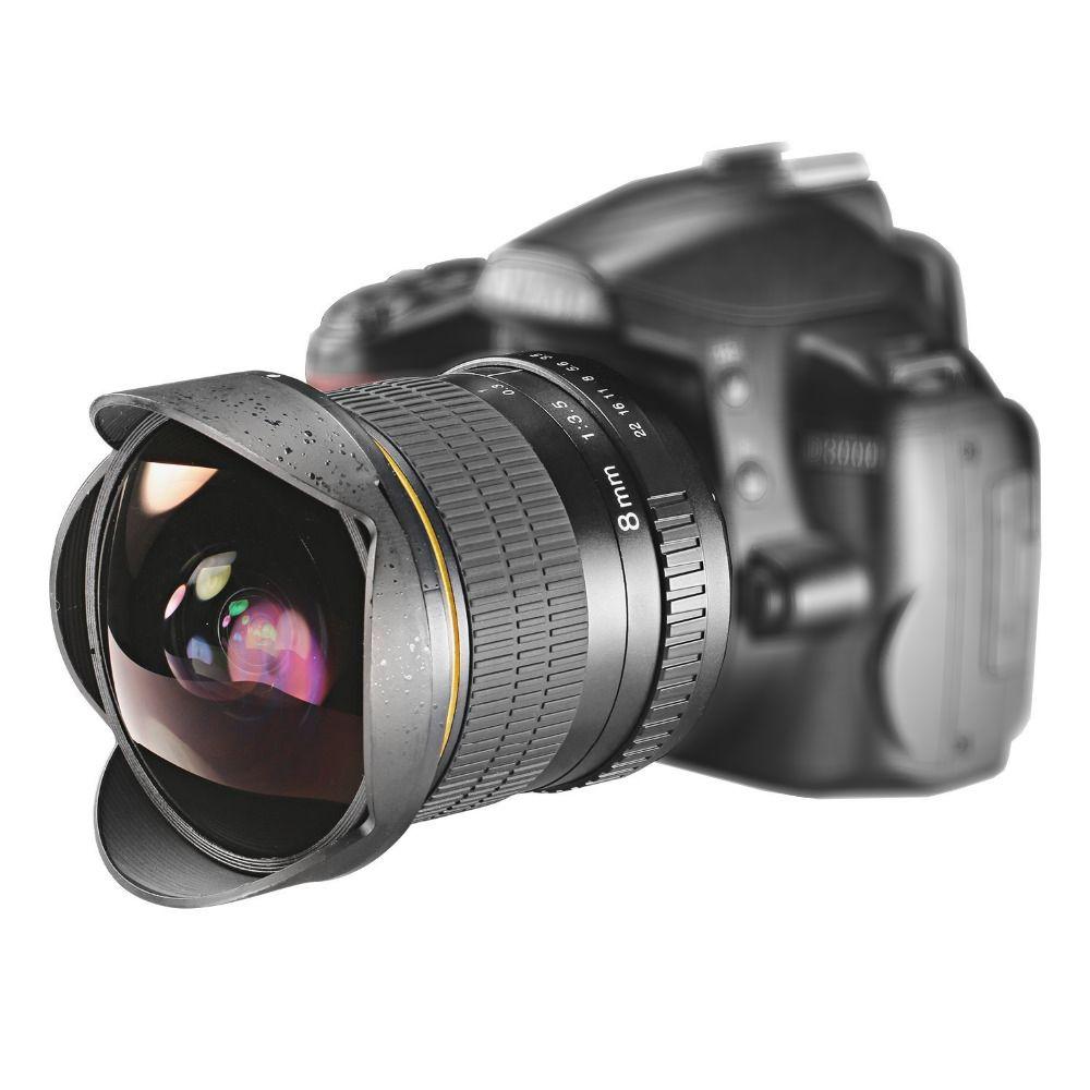 Objectif Fisheye Ultra grand Angle Lightdow 8mm F/3.5 pour appareil photo reflex numérique Nikon D3100 D3200 D5200 D5500 D7000 D7200 D800 D700 D90 D7100