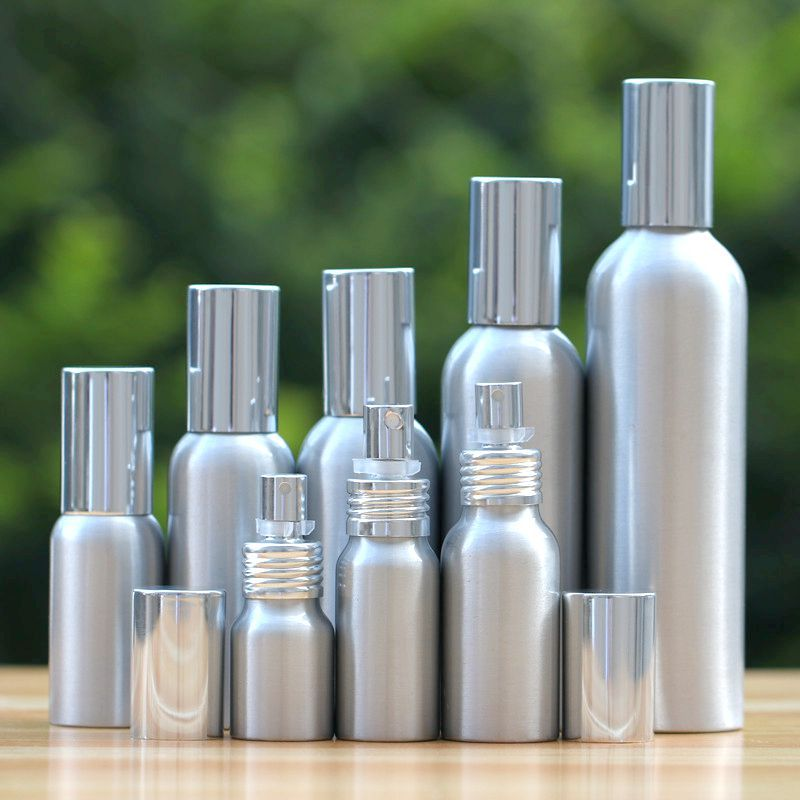 20-50pcs high-grade 20-500ml Aluminum silver empty spray bottle Fine Mist Refill cosmetic spray jar Sample subpackage travel