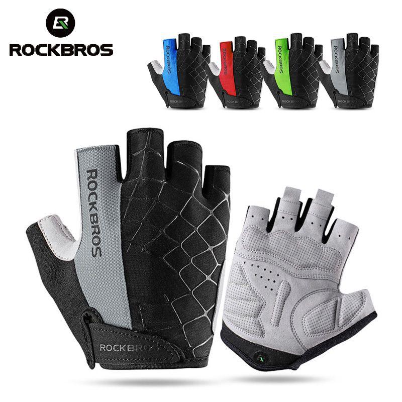ROCKBROS gants de sport demi doigt été gants de cyclisme respirant antichoc vélo vélo gants en plein air hommes femmes équipement